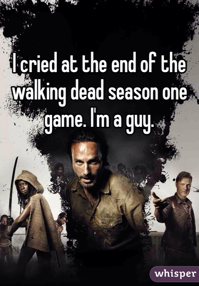 I cried at the end of the walking dead season one game. I'm a guy.