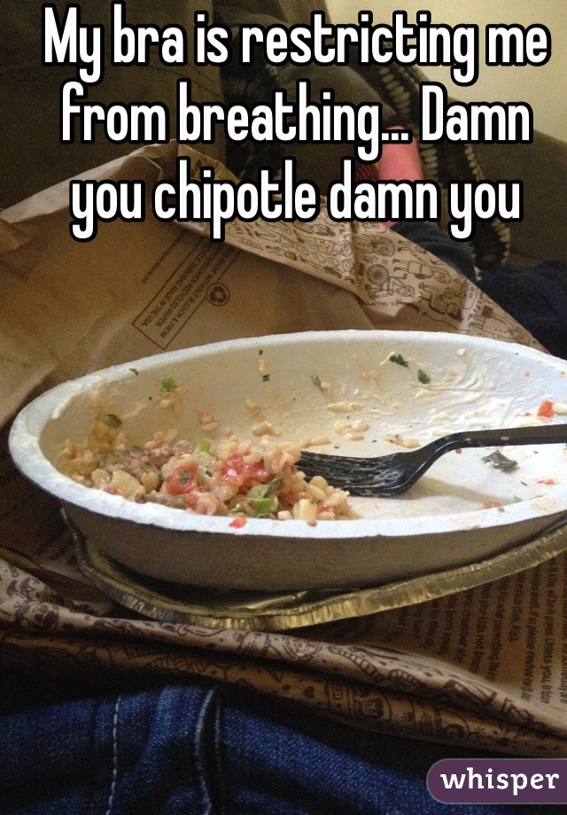My bra is restricting me from breathing... Damn you chipotle damn you
