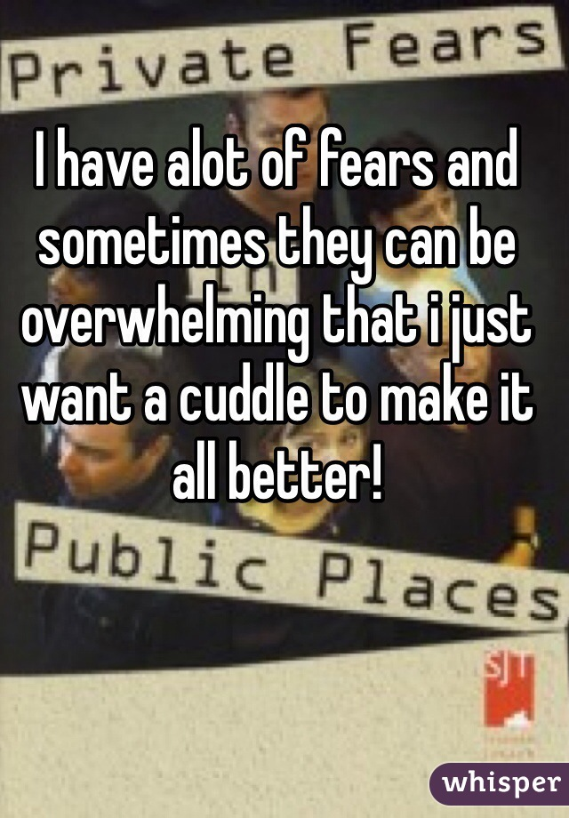 I have alot of fears and sometimes they can be overwhelming that i just want a cuddle to make it all better!