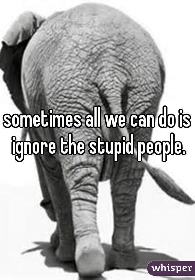 sometimes all we can do is ignore the stupid people.