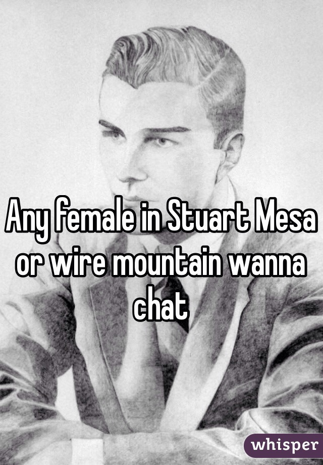 Any female in Stuart Mesa or wire mountain wanna chat