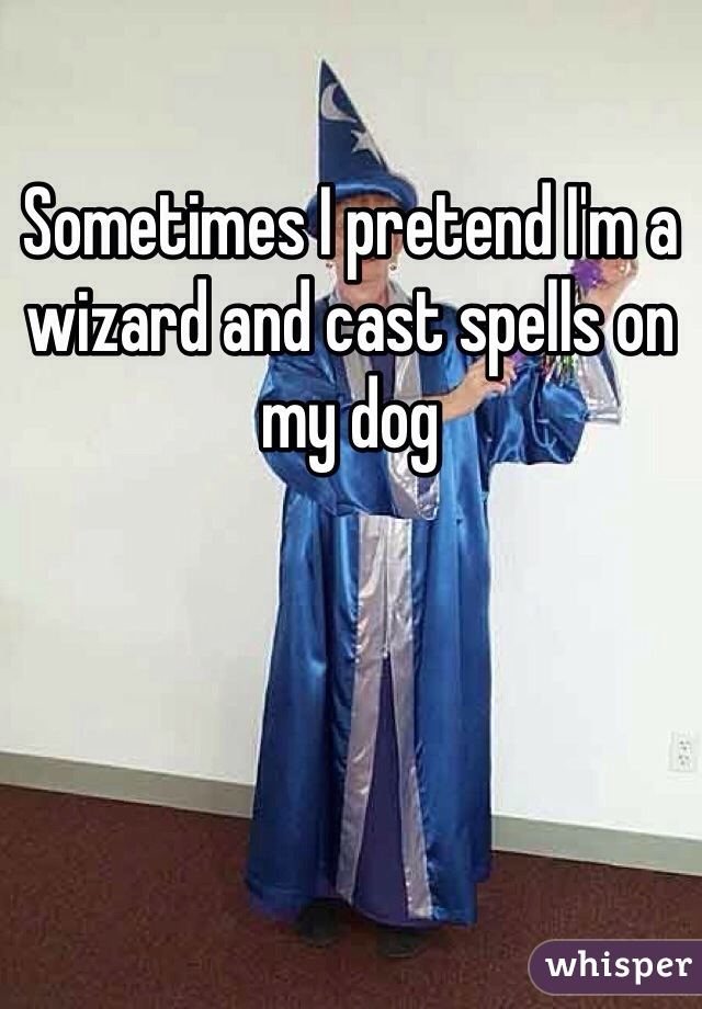 Sometimes I pretend I'm a wizard and cast spells on my dog