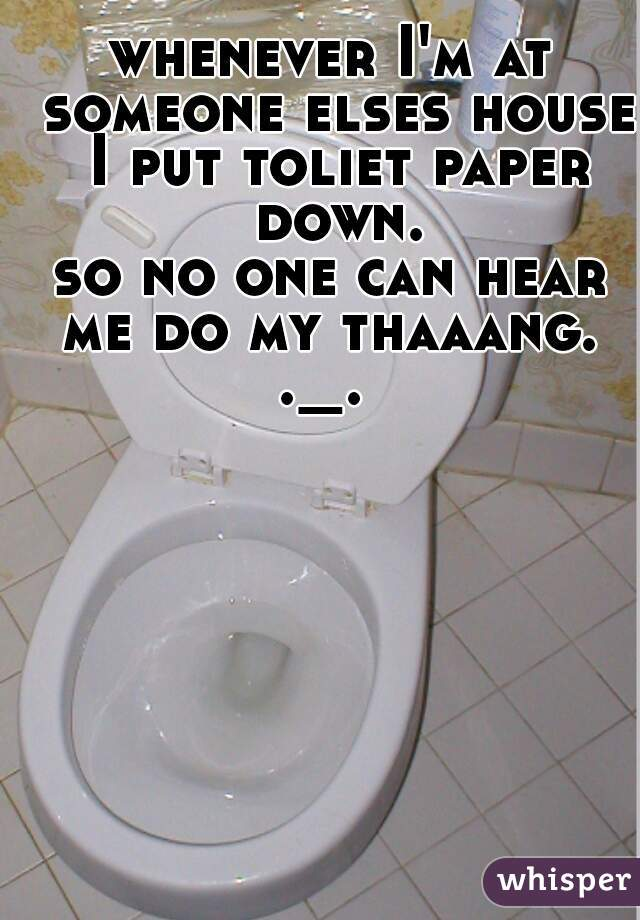 whenever I'm at someone elses house I put toliet paper down. so no one can hear me do my thaaang.  ._.