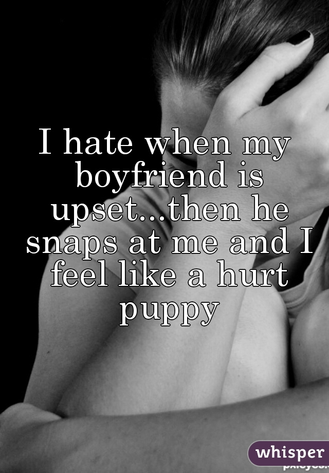 I hate when my boyfriend is upset...then he snaps at me and I feel like a hurt puppy