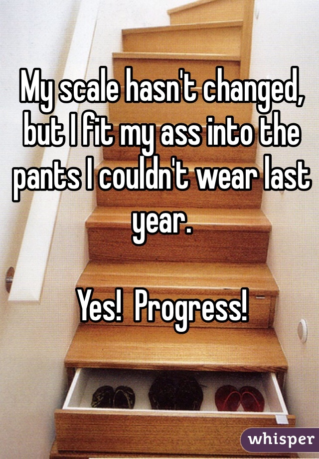 My scale hasn't changed, but I fit my ass into the pants I couldn't wear last year.  Yes!  Progress!