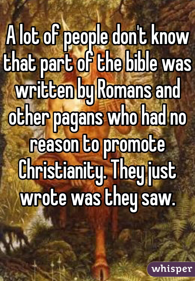 A lot of people don't know that part of the bible was written by Romans and other pagans who had no reason to promote Christianity. They just wrote was they saw.