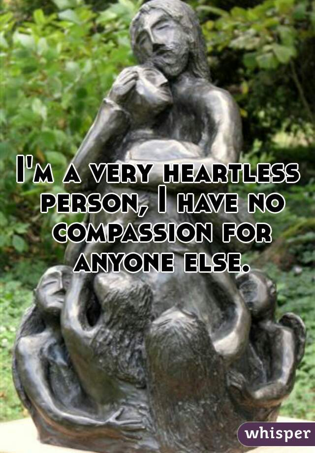 I'm a very heartless person, I have no compassion for anyone else.
