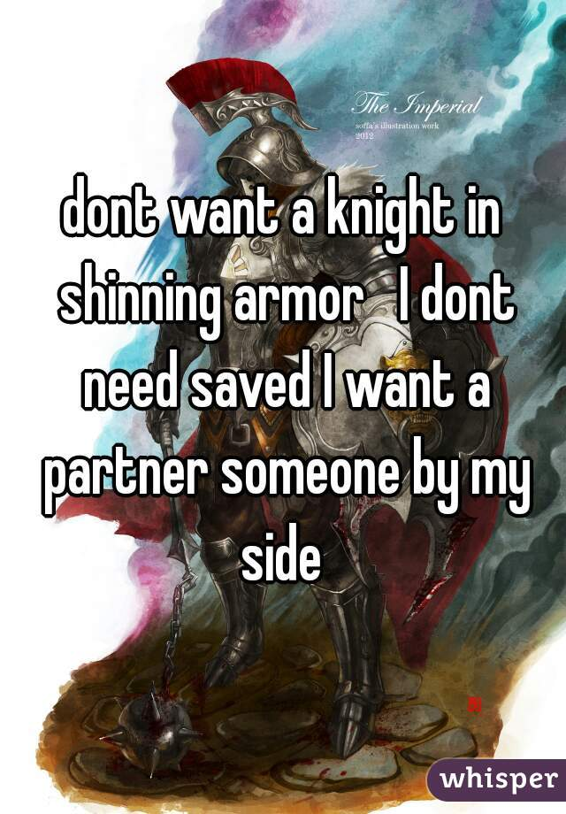 dont want a knight in shinning armor   I dont need saved I want a partner someone by my side