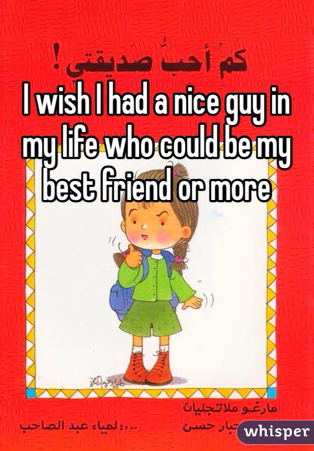 I wish I had a nice guy in my life who could be my best friend or more