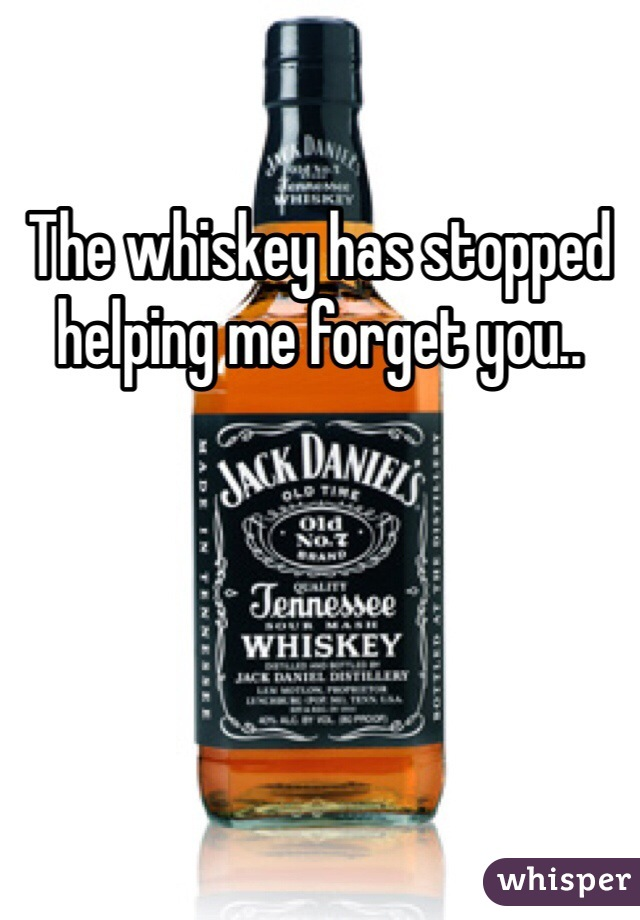 The whiskey has stopped helping me forget you..