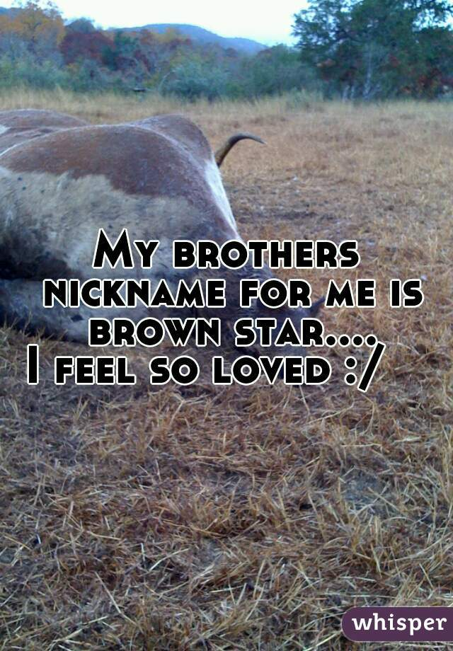 My brothers nickname for me is brown star....   I feel so loved :/