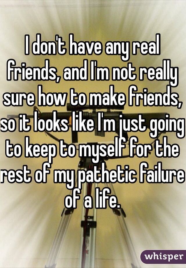 I don't have any real friends, and I'm not really sure how to make friends, so it looks like I'm just going to keep to myself for the rest of my pathetic failure of a life.