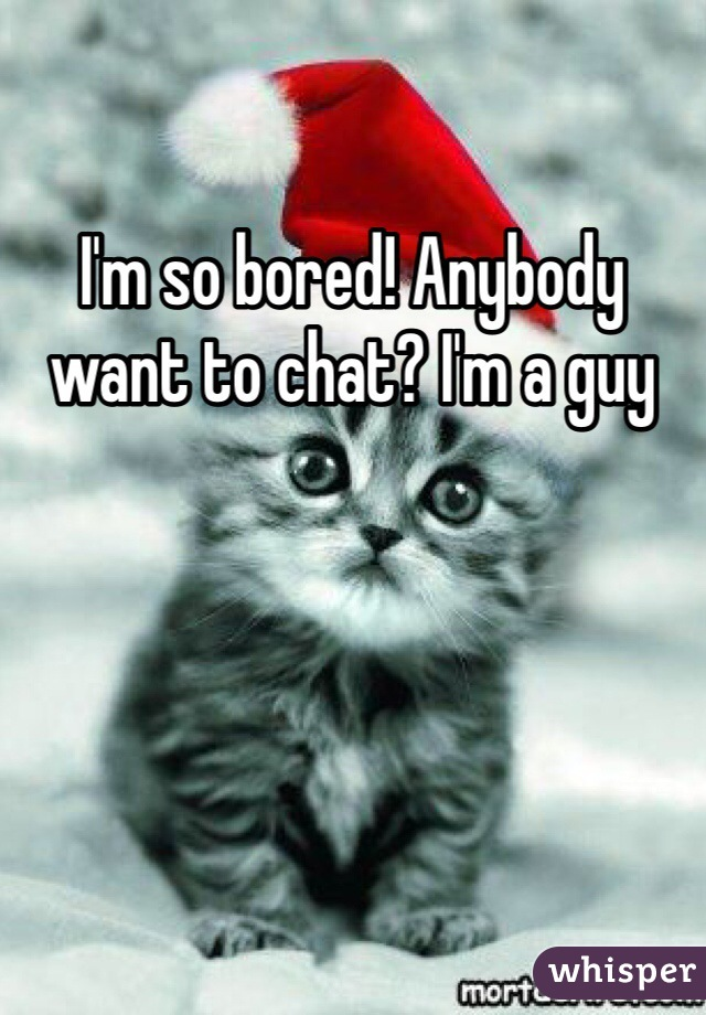 I'm so bored! Anybody want to chat? I'm a guy