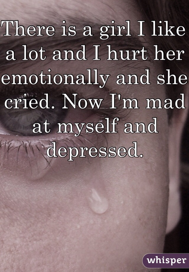 There is a girl I like a lot and I hurt her emotionally and she cried. Now I'm mad at myself and depressed.