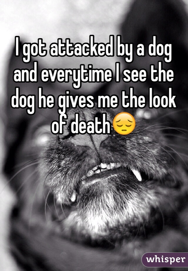 I got attacked by a dog and everytime I see the dog he gives me the look of death😔
