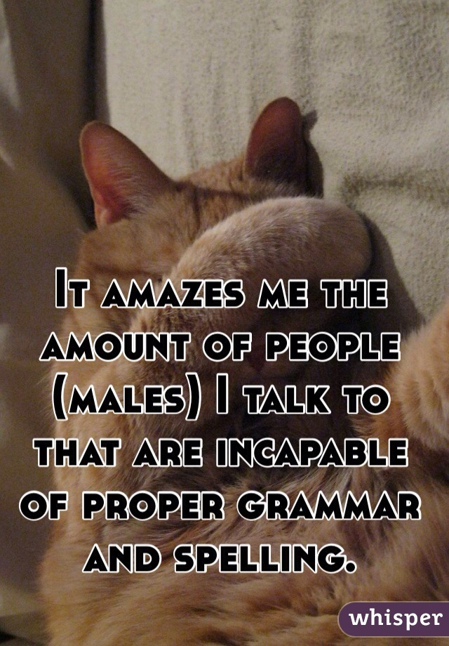 It amazes me the amount of people (males) I talk to that are incapable of proper grammar and spelling.