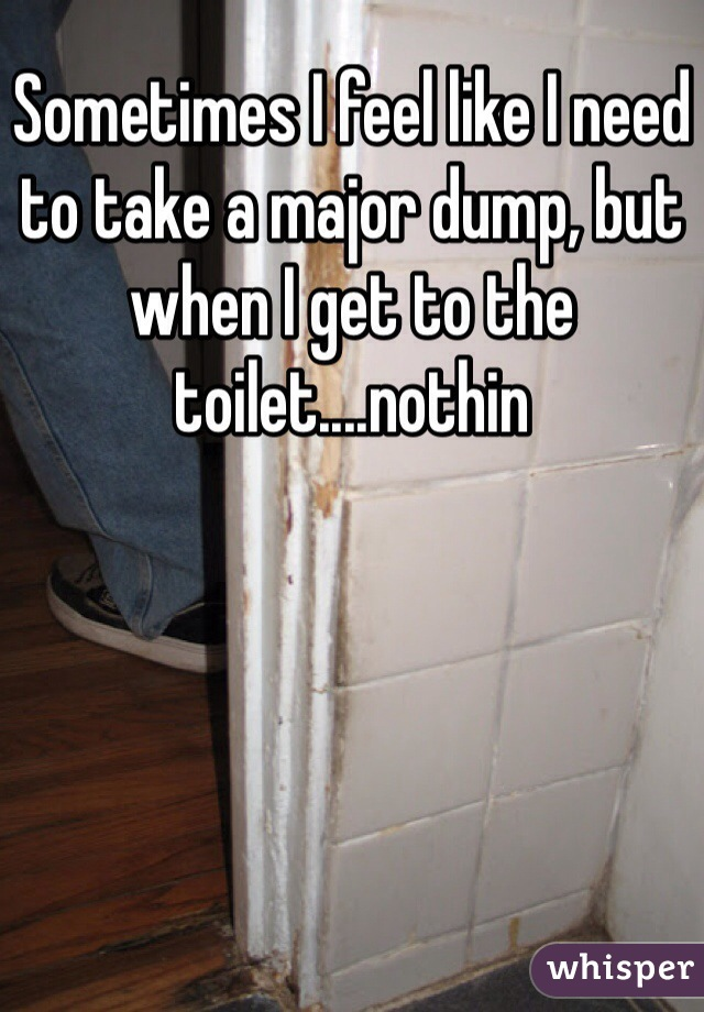Sometimes I feel like I need to take a major dump, but when I get to the toilet....nothin