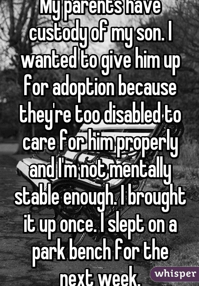 My parents have custody of my son. I wanted to give him up for adoption because they're too disabled to care for him properly and I'm not mentally stable enough. I brought it up once. I slept on a park bench for the next week.