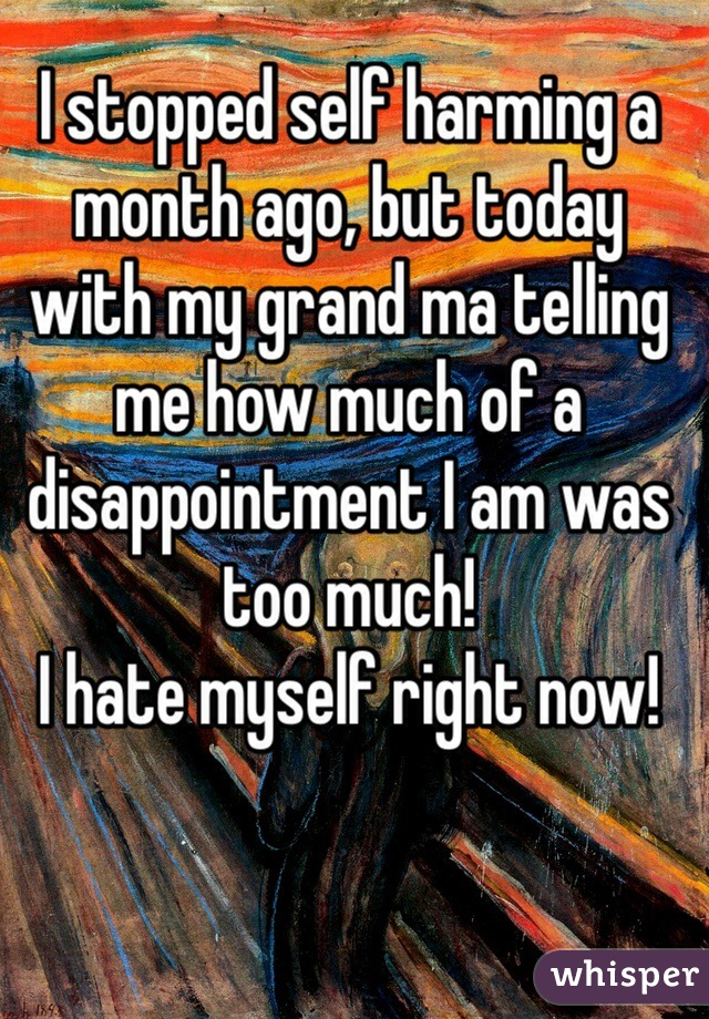 I stopped self harming a month ago, but today with my grand ma telling me how much of a disappointment I am was too much!  I hate myself right now!