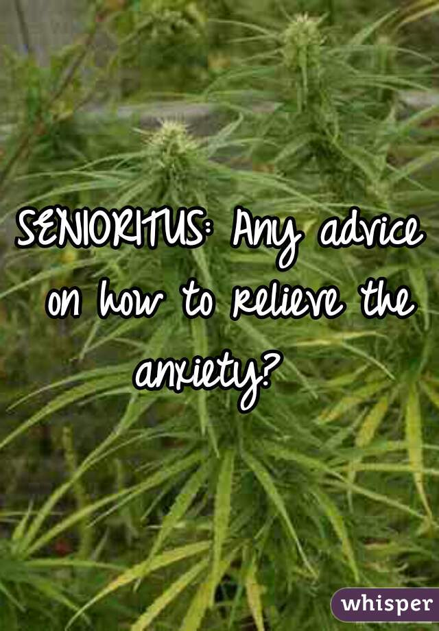 SENIORITUS: Any advice on how to relieve the anxiety?
