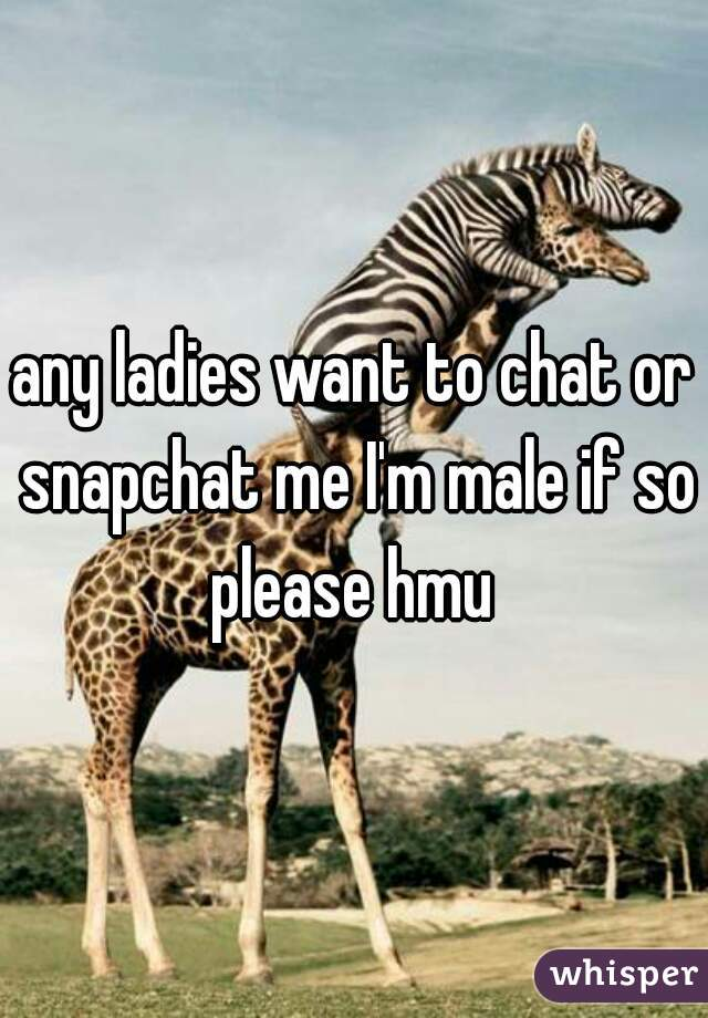 any ladies want to chat or snapchat me I'm male if so please hmu