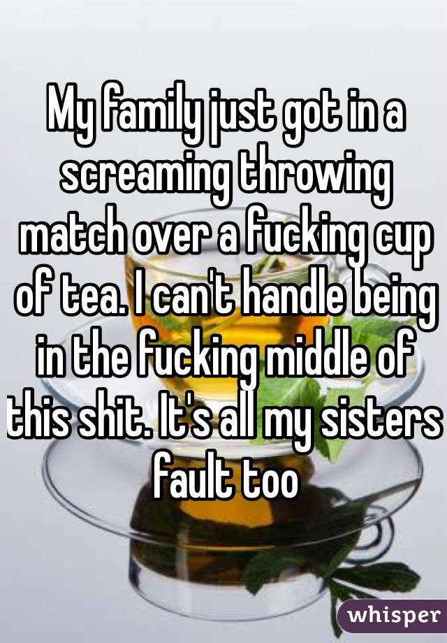My family just got in a screaming throwing match over a fucking cup of tea. I can't handle being in the fucking middle of this shit. It's all my sisters fault too