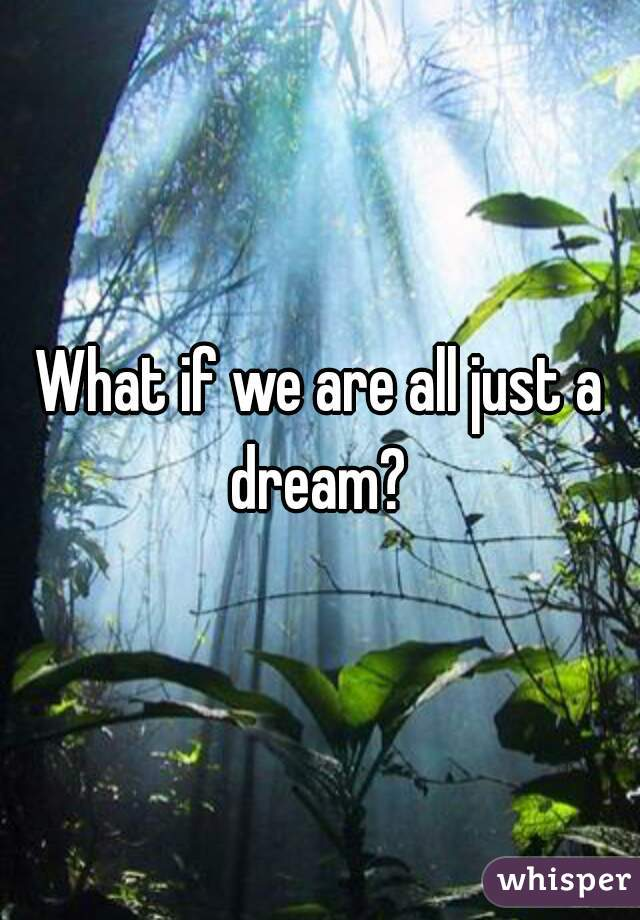 What if we are all just a dream?