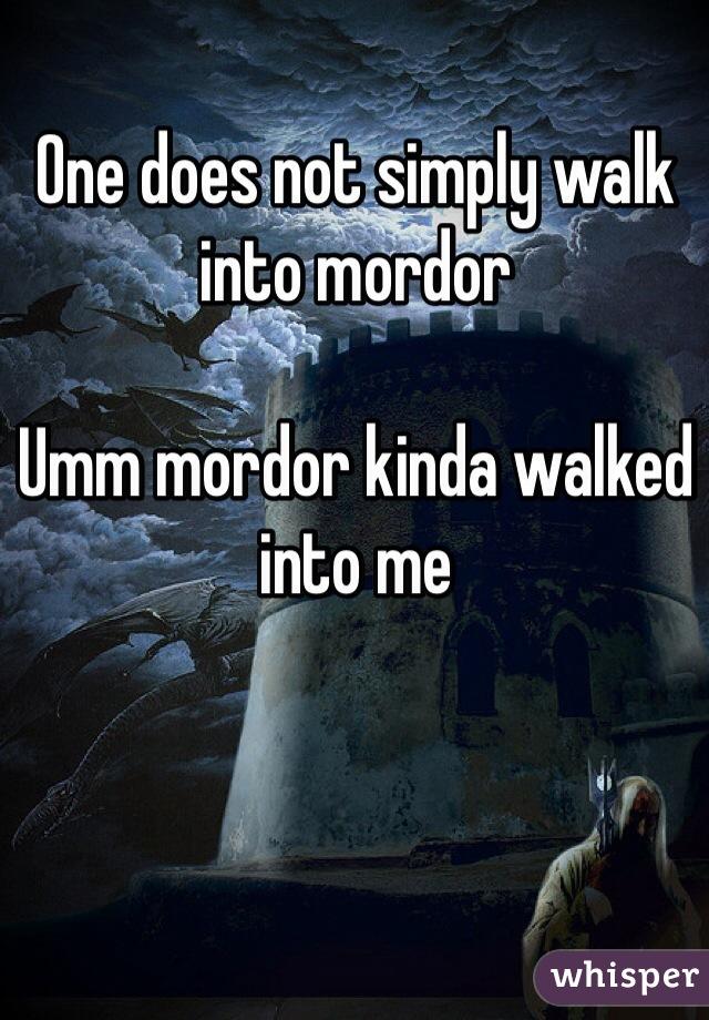 One does not simply walk into mordor   Umm mordor kinda walked into me