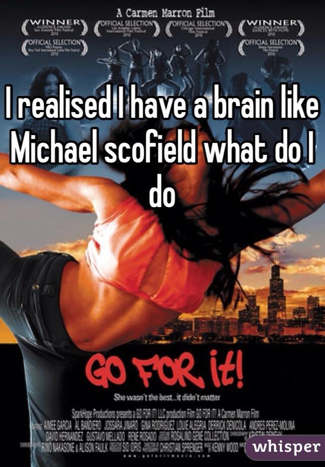I realised I have a brain like Michael scofield what do I do
