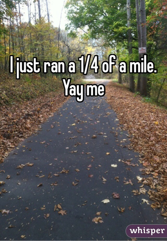 I just ran a 1/4 of a mile. Yay me