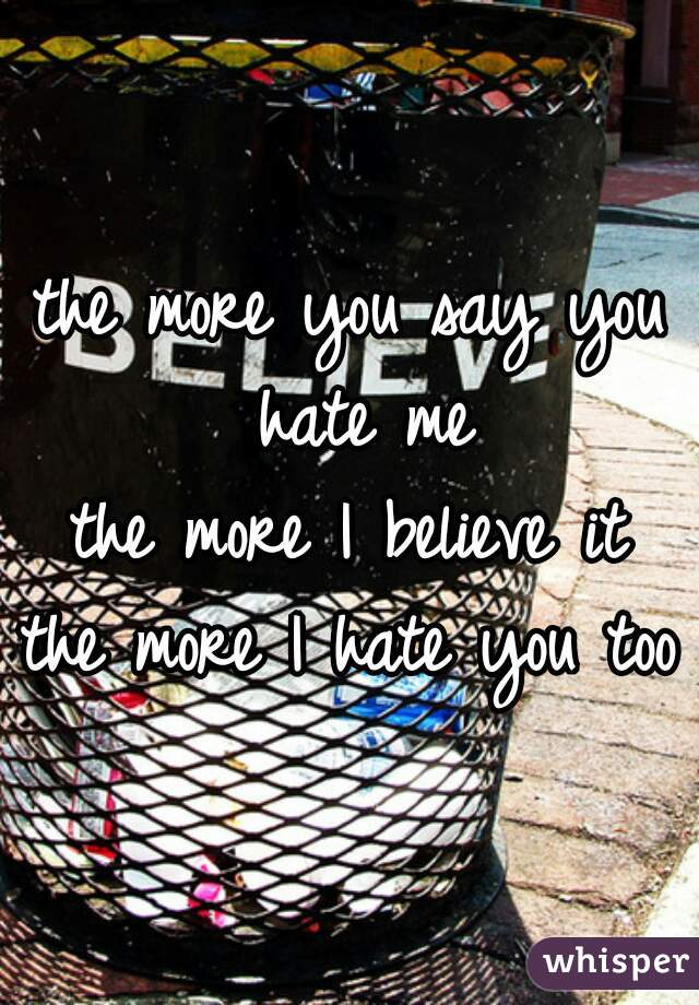 the more you say you hate me the more I believe it the more I hate you too