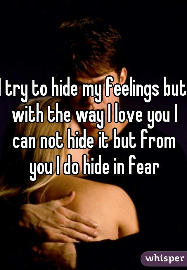 I try to hide my feelings but with the way I love you I can not hide it but from you I do hide in fear
