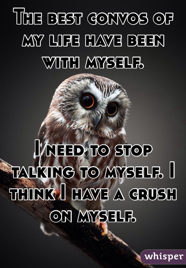 The best convos of my life have been with myself.     I need to stop talking to myself. I think I have a crush on myself.