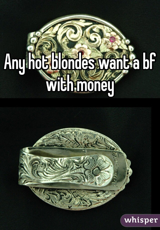 Any hot blondes want a bf with money