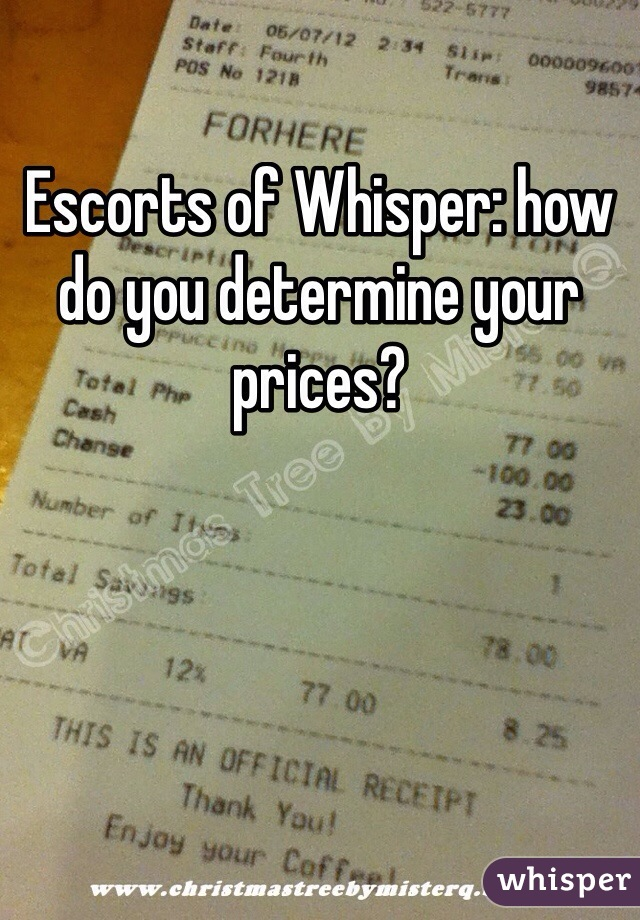 Escorts of Whisper: how do you determine your prices?