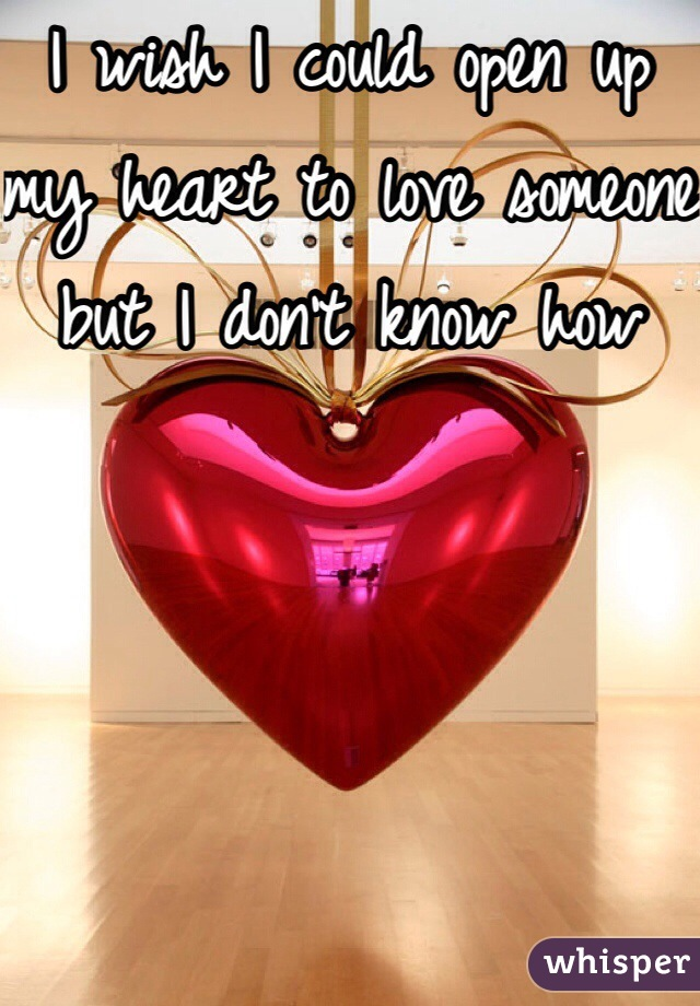 I wish I could open up my heart to love someone but I don't know how