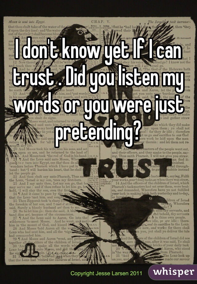 I don't know yet If I can trust . Did you listen my words or you were just pretending?