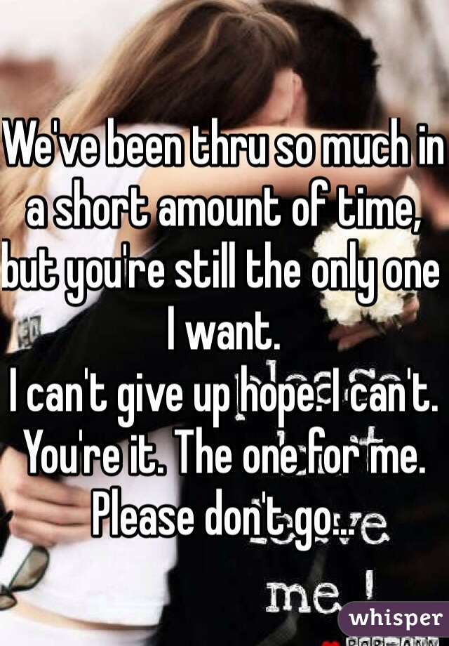 We've been thru so much in a short amount of time, but you're still the only one I want.  I can't give up hope. I can't.  You're it. The one for me. Please don't go...