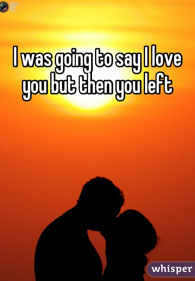I was going to say I love you but then you left