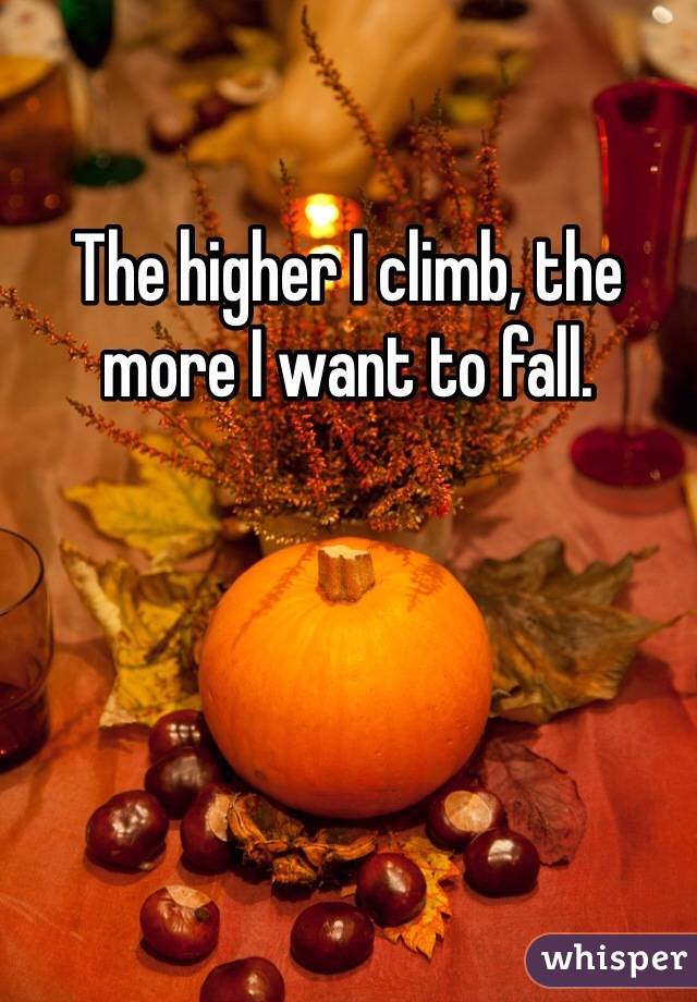The higher I climb, the more I want to fall.