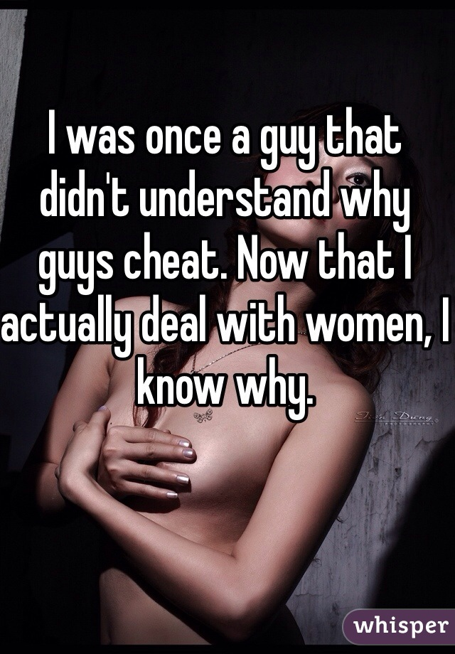 I was once a guy that didn't understand why guys cheat. Now that I actually deal with women, I know why.