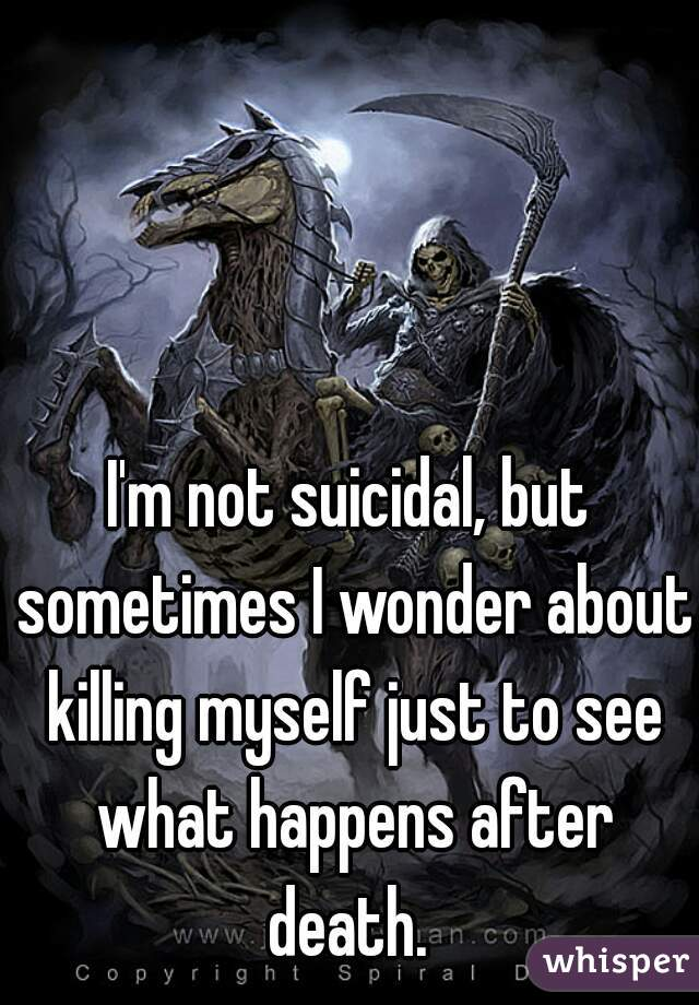 I'm not suicidal, but sometimes I wonder about killing myself just to see what happens after death.