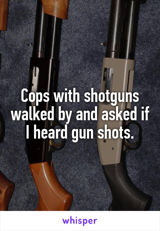 Cops with shotguns walked by and asked if I heard gun shots.