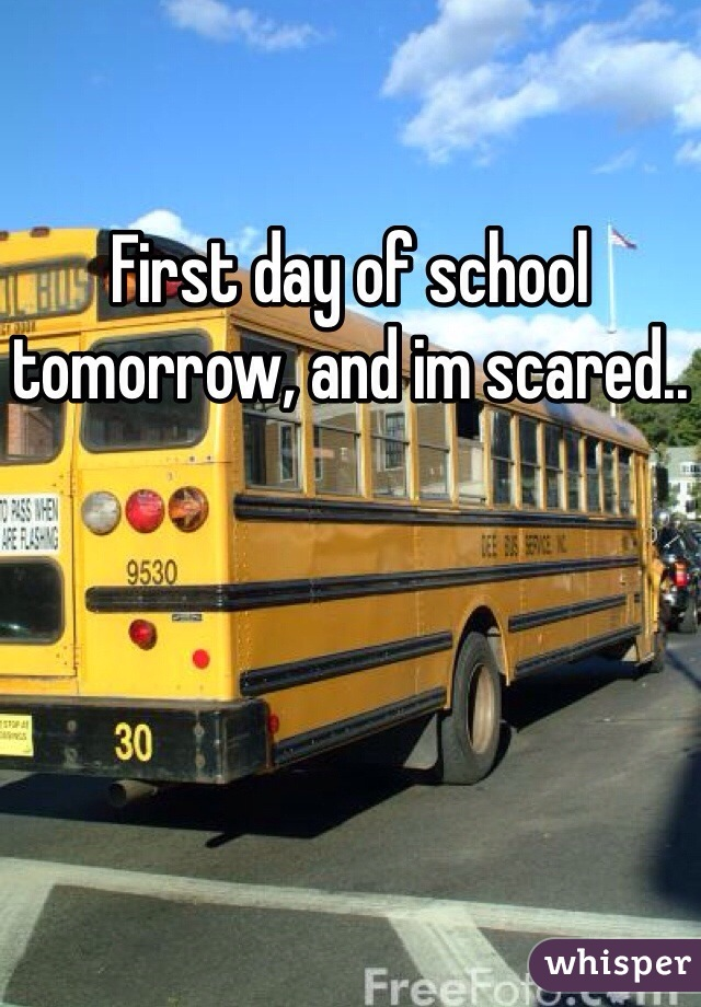 First day of school tomorrow, and im scared..