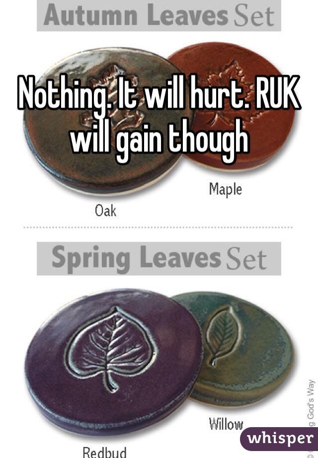 Nothing. It will hurt. RUK will gain though