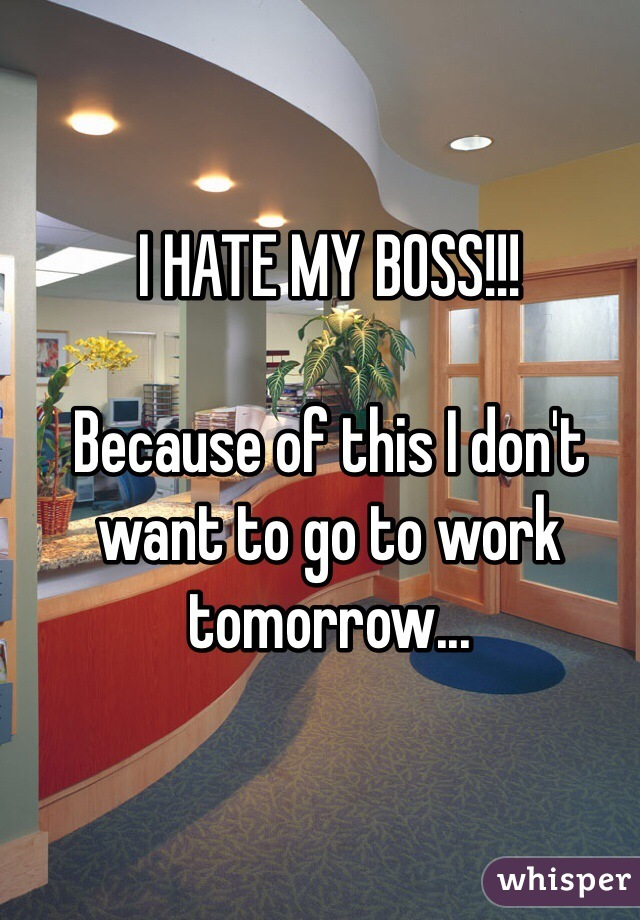 I HATE MY BOSS!!!  Because of this I don't want to go to work tomorrow...