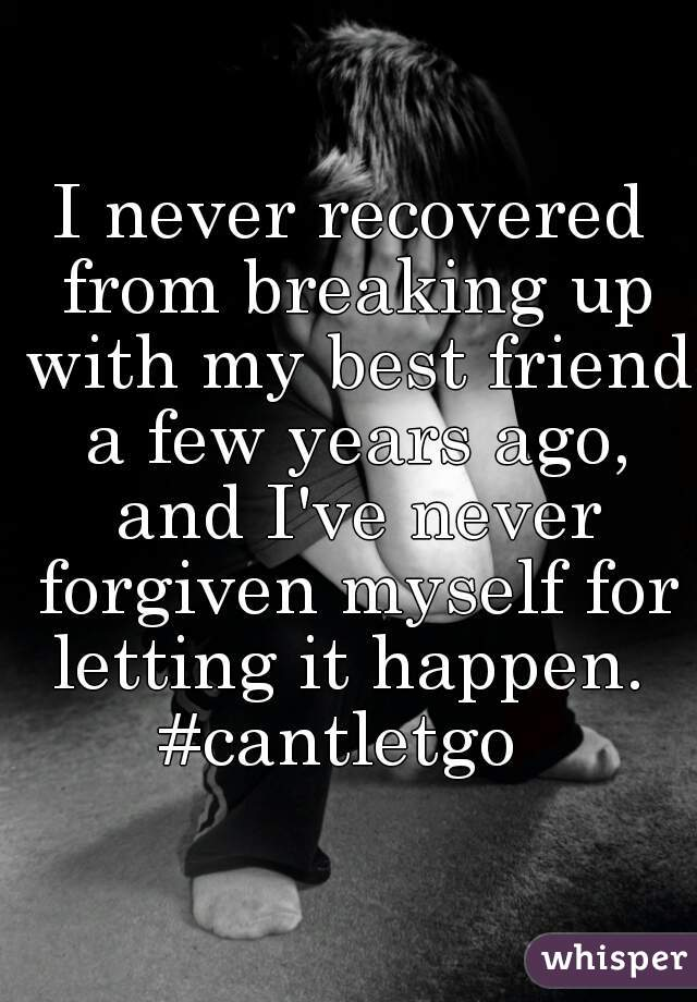 I never recovered from breaking up with my best friend a few years ago, and I've never forgiven myself for letting it happen.  #cantletgo