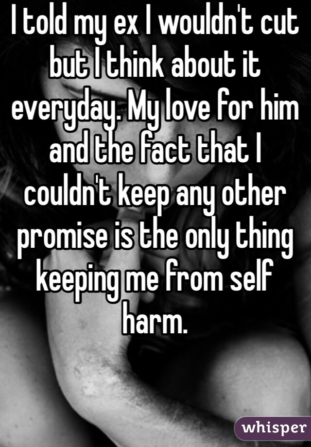 I told my ex I wouldn't cut but I think about it everyday. My love for him and the fact that I couldn't keep any other promise is the only thing keeping me from self harm.