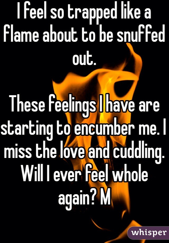 I feel so trapped like a flame about to be snuffed out.   These feelings I have are starting to encumber me. I miss the love and cuddling. Will I ever feel whole again? M