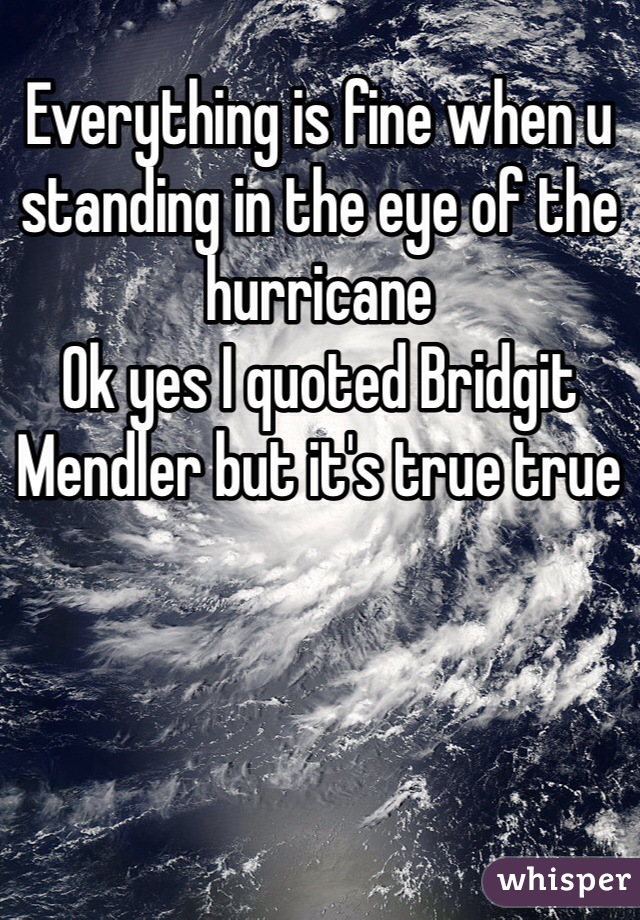 Everything is fine when u standing in the eye of the hurricane  Ok yes I quoted Bridgit Mendler but it's true true